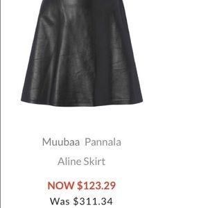 MUUBAA London Leather A-Line skirt US2 Petrol